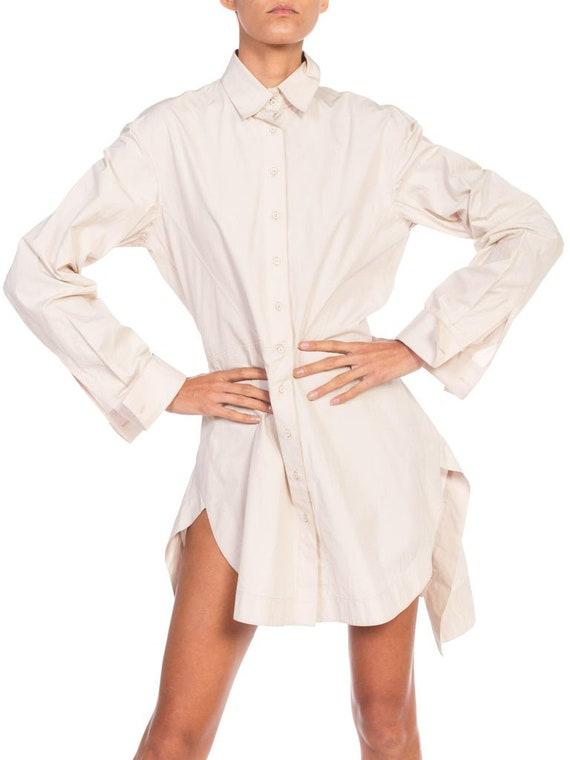 1990S AZZEDINE ALAIA Ecru Cotton Shirt Dress - image 9