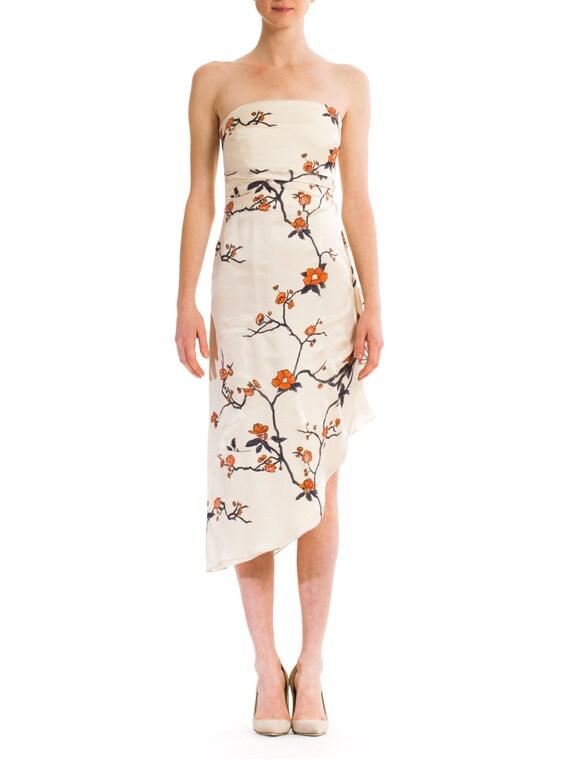 1980s Vintage Strapples Asian Floral Silk Dress  S