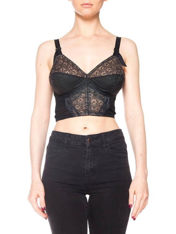 1950S Black Nylon/Lace Bullet Bra