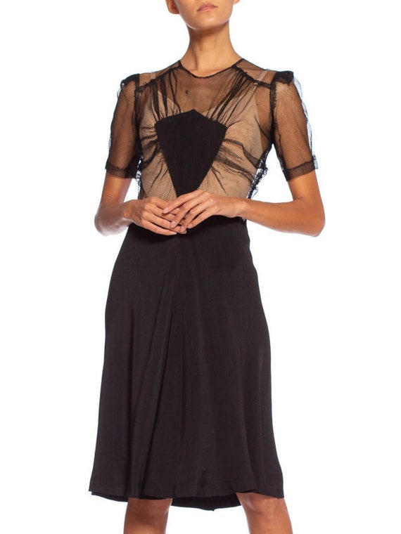 1940S Black Silk Bias & Net Dress