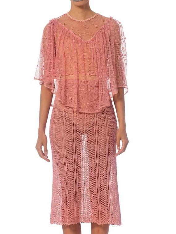 1970S Pink Hand Crochet Cotton Net Crop Top & Skir