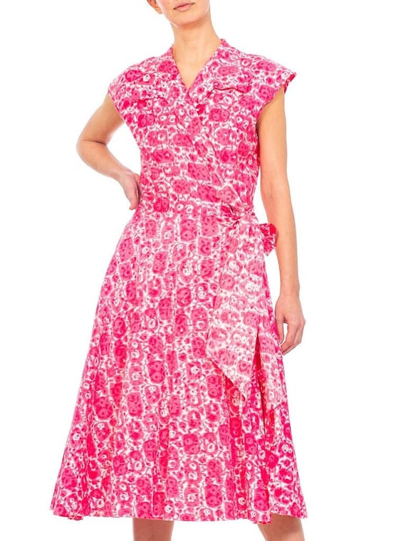 1950S Red Printed Cotton Shirt Dress - image 1