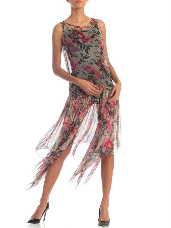 1920S Floral Silk Chiffon Summer Tea Party Dress - image 7