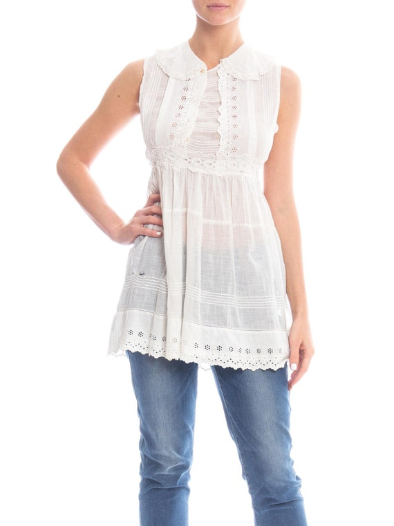 Edwardian White Cotton Eyelet Lace Babydoll Tunic