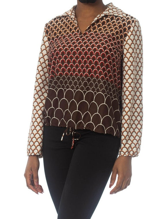 1960S Brown & Orange Polyester Jersey Geometric P… - image 1