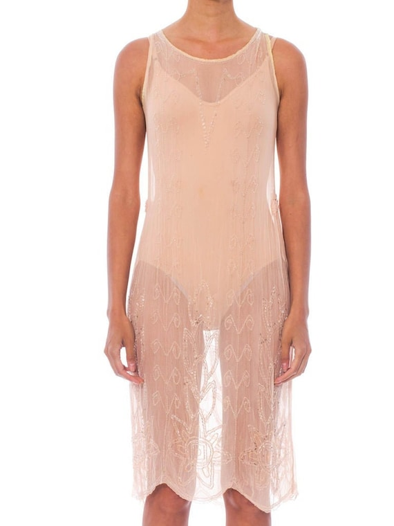 1920S Blush Pink Silk Chiffon Sheer Beaded Flapper