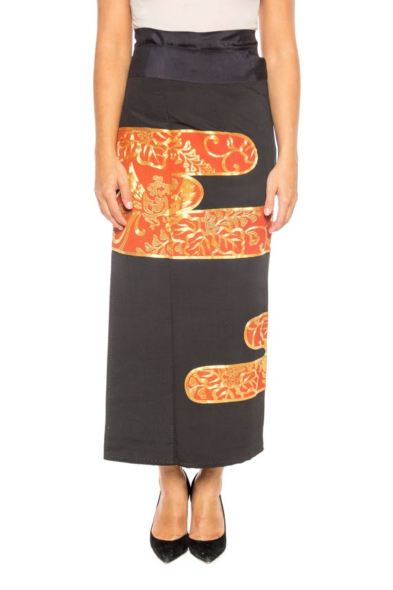 1970S Black & Orange Hand Embroidered In Gold Wrap