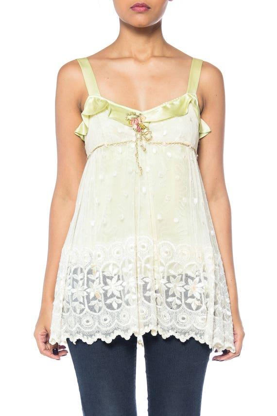 1930S Mint Green Silk & Lace Ruffled Romantic  Cam