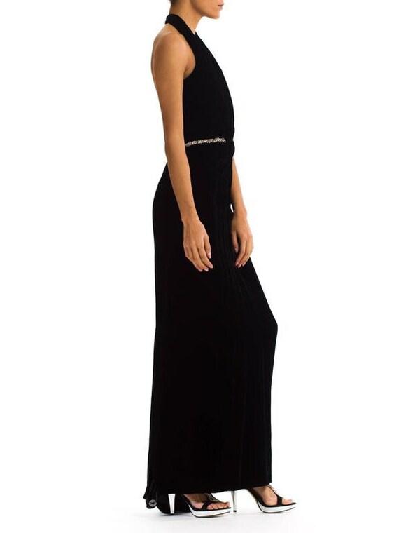 1970S CEIL CHAPMAN Black Rayon & Silk Velvet Plun… - image 4
