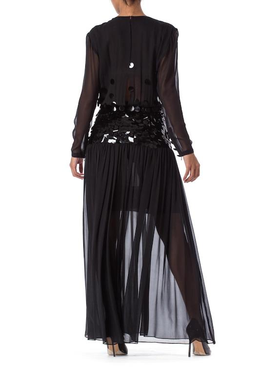 1980S PAULINE TRIGERE Black Beaded Silk Chiffon L… - image 3