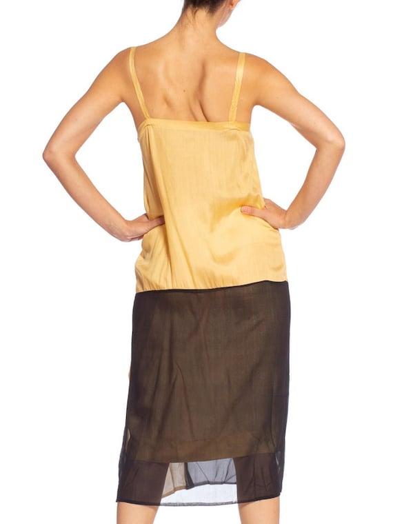 1920's Yellow & Black Silk Chiffon Dress - image 9