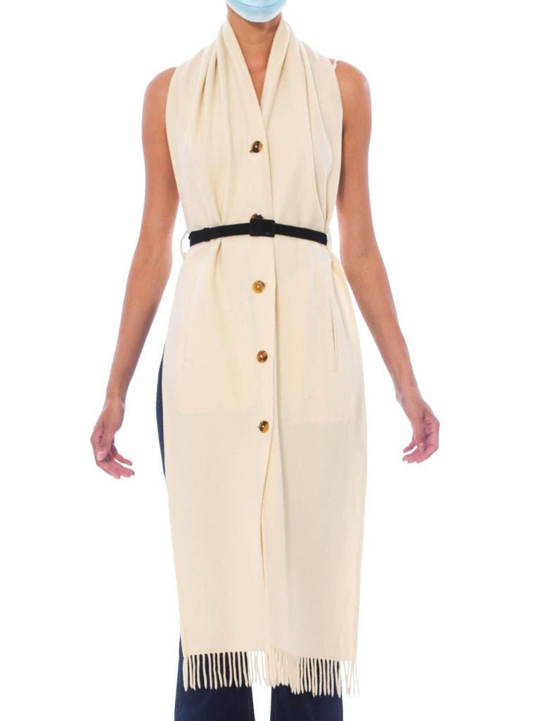 Vintage Scarf Styles -1920s to 1960s 1990S Jean Paul Gaultier Cream Wool Button Front Scarf Top $488.00 AT vintagedancer.com