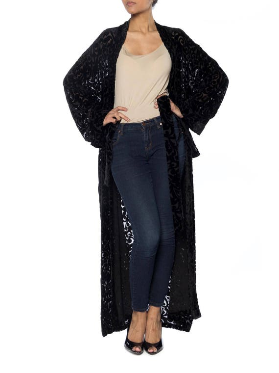 1920S Black Silk Burnout Velvet Wrap Robe With In… - image 2