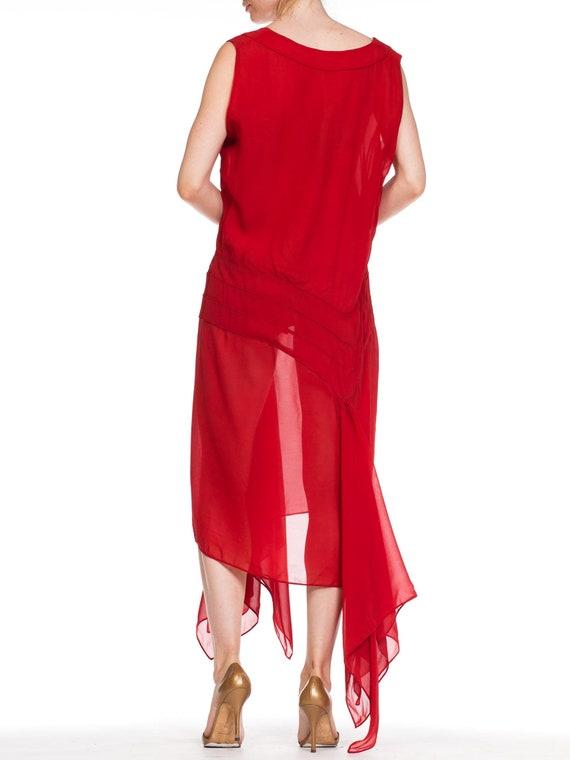 1920S Deep Waist Red Silk Chiffon Flapper Dance D… - image 6