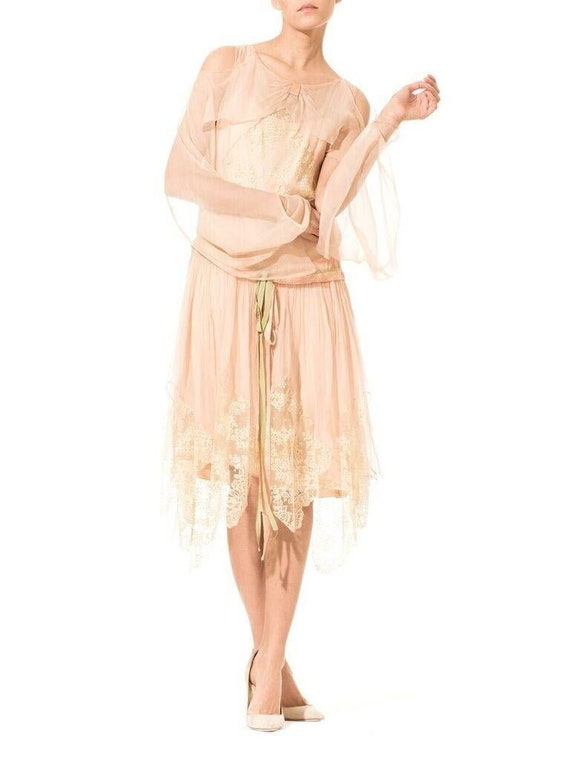 1920S Blush Pink Silk Mousseline  & Ivory Chantill