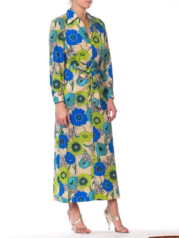 1920s-silk Chiffon Lavender Applique Dress Size: S - image 5