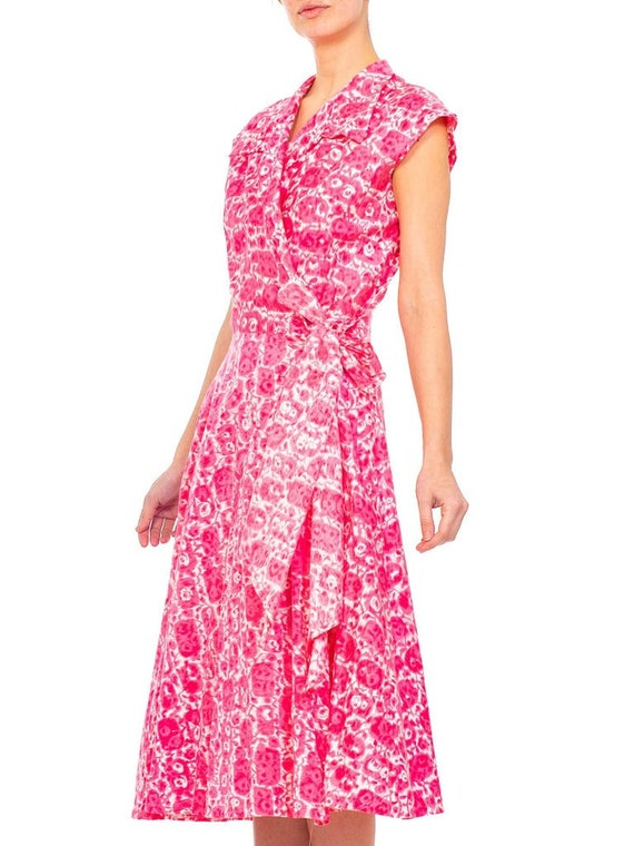 1950S Red Printed Cotton Shirt Dress - image 7