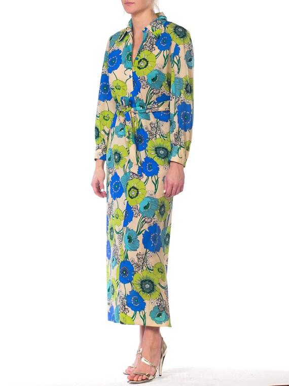 1920s-silk Chiffon Lavender Applique Dress Size: S - image 4