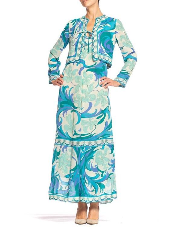 1960S EMILIO PUCCI Aqua  Blue Silk Chiffon Psyche… - image 1