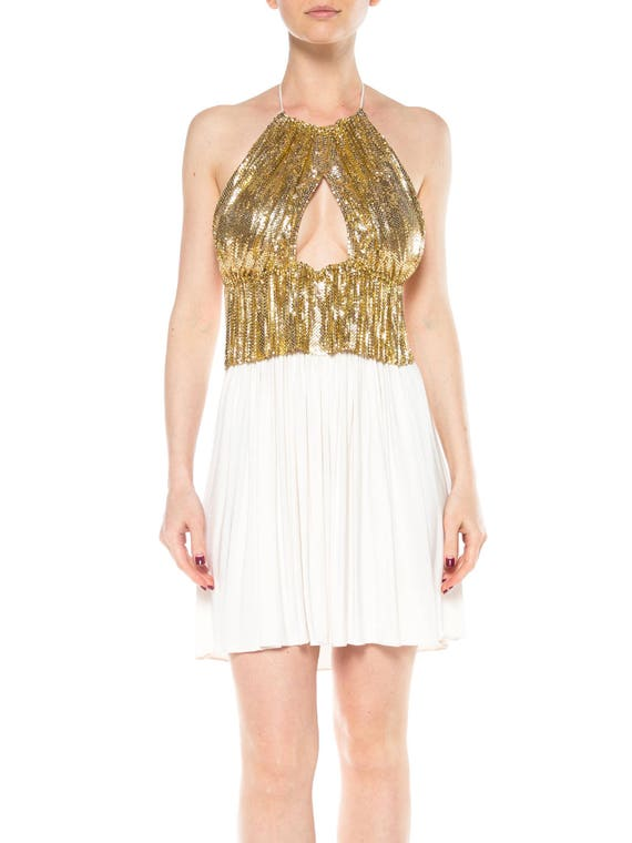 MORPHEW COLLECTION Gold Metal Mesh & Cream Rayon J