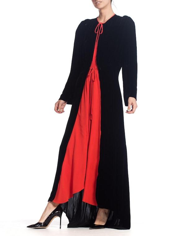 1930S Black Silk Velvet  & Red Crepe Dressing Gow… - image 5