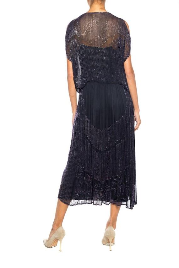 1920S Silk Chiffon Beaded Navy Cocktail Dress - image 4