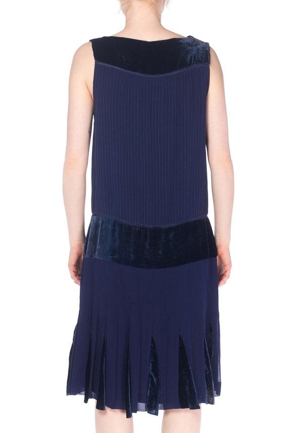 1920S Navy Blue Silk & Velvet Pintucked Drop Wais… - image 3