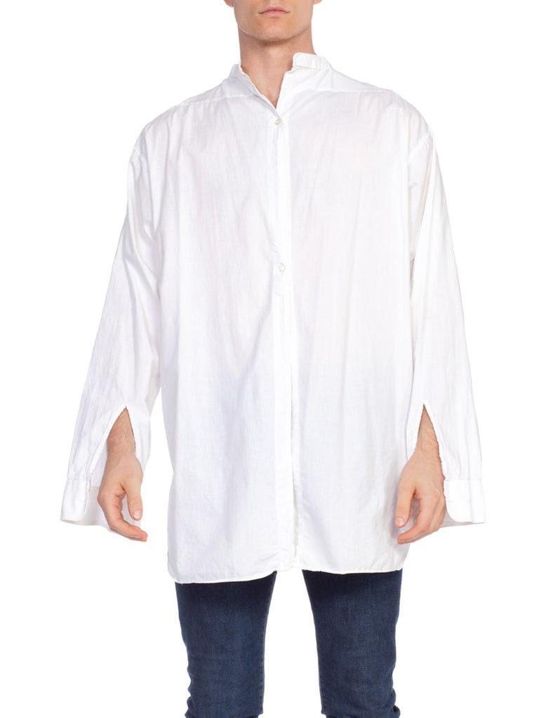 New 1930s Mens Fashion Ties 1930S White Organic Cotton Rare Mens Antique Formal Shirt  Size 17, 36 $70.00 AT vintagedancer.com