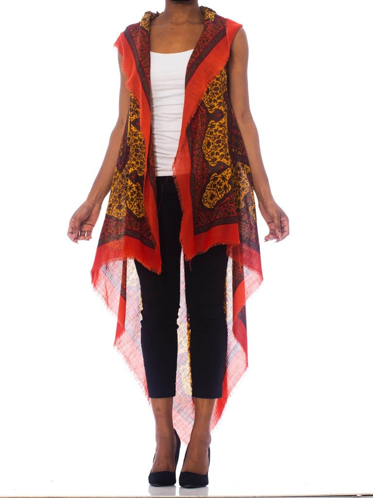 Vintage Scarf Styles -1920s to 1960s Morphew Collection Boho Hooded Vest Made From 1970s Paisley Scarf $488.00 AT vintagedancer.com