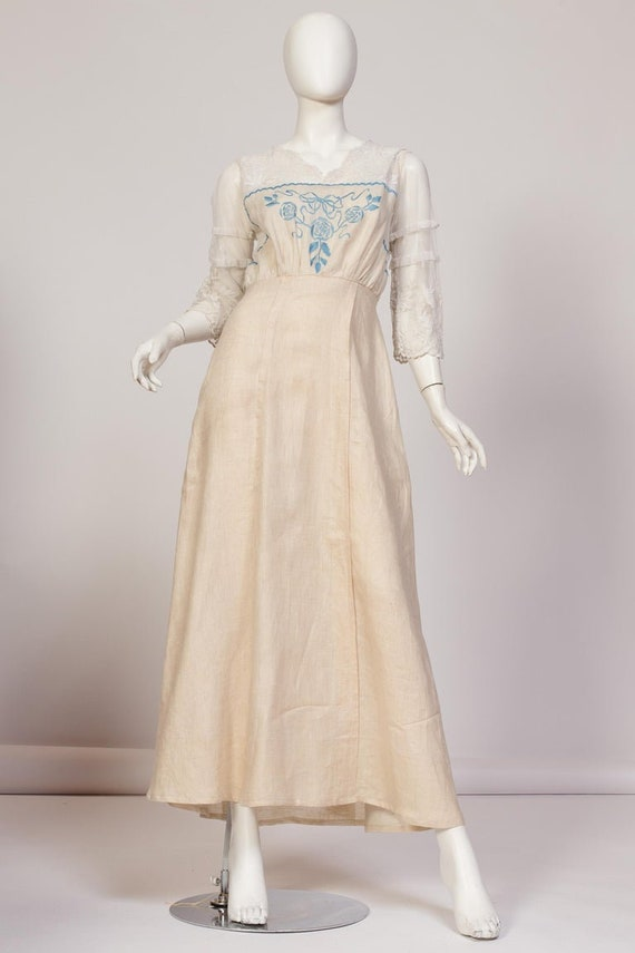 Edwardian Linen & Cotton Embroidered Tulle Dress W
