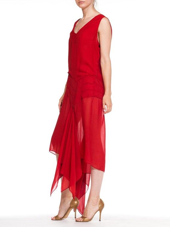 1920S Deep Waist Red Silk Chiffon Flapper Dance D… - image 4