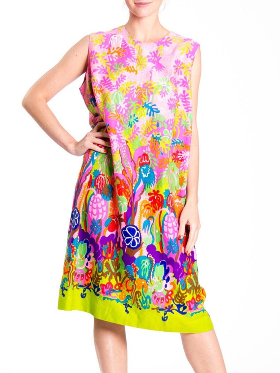 1970s Psychedelic Floral Print Sleeveless Midi Dr… - image 2
