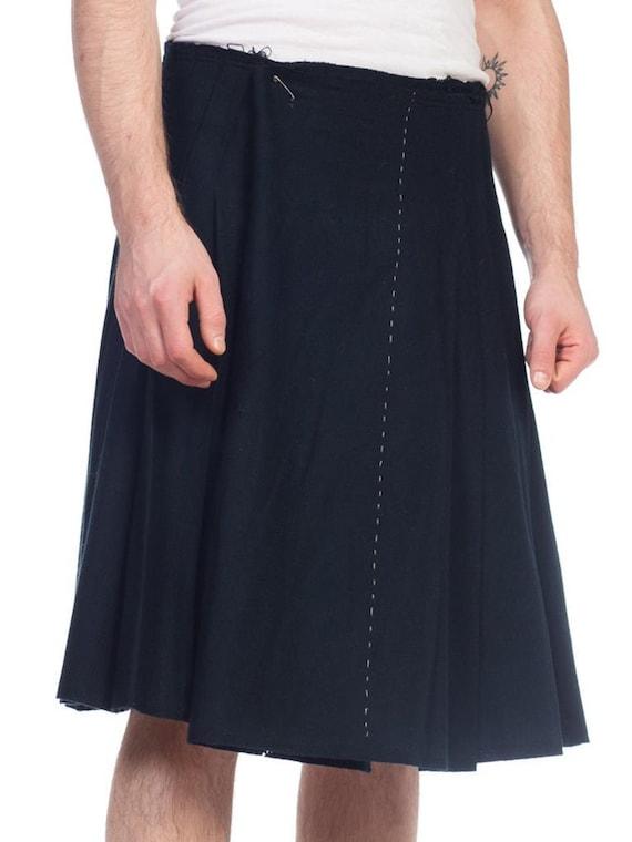 1990S Black Wool Men's Grunge Distressed Skirt / K