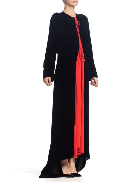 1930S Black Silk Velvet  & Red Crepe Dressing Gow… - image 4