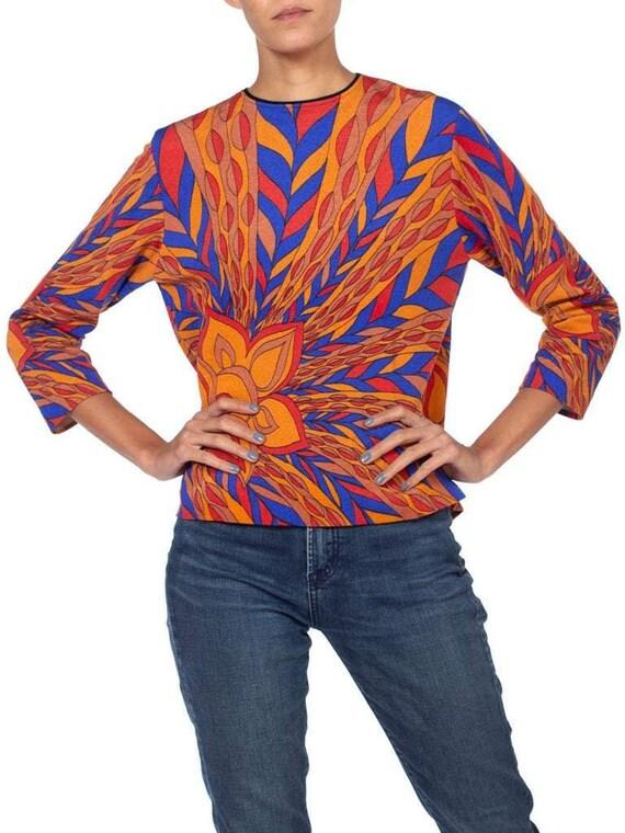 1970S Blue  Orange Polyester Jersey Psychedelic Pr