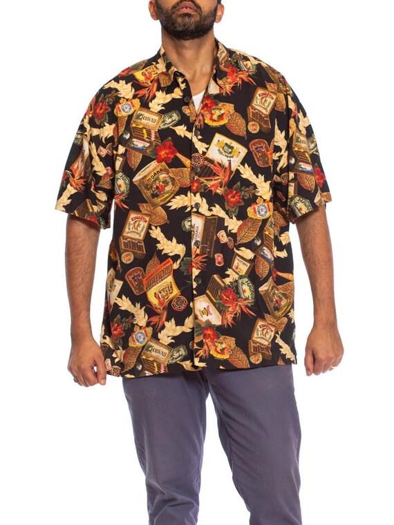 1990S Black  Brown Cotton / Rayon Men's Tropical C