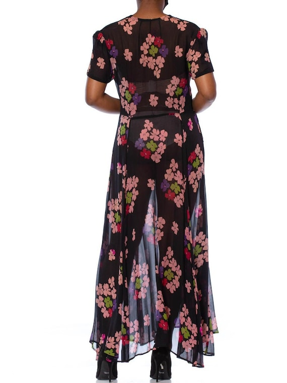 1930S Black Silk Chiffon Pink Floral Dress With L… - image 8