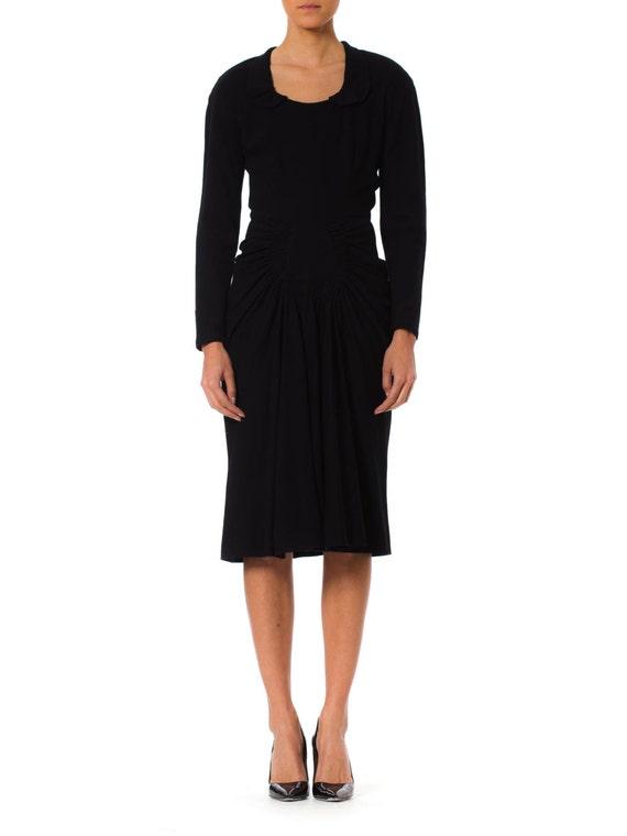 1940S Black Wool Vamp Style Shirred Skirt Dress