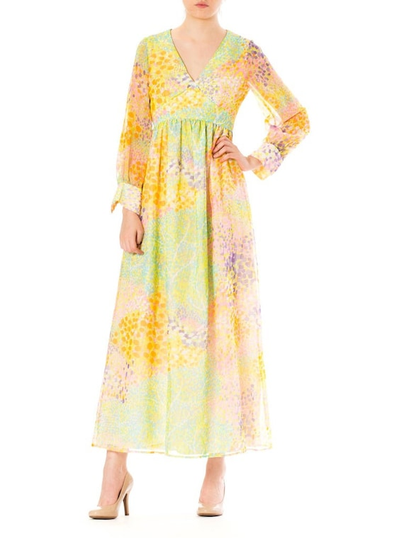 1970S Multicolor Psychedelic Polyester Chiffon Ma… - image 3