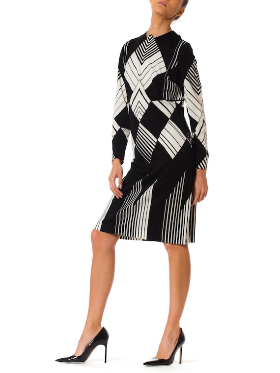 1960S MR DINO Style Black & White Polyester Jersey