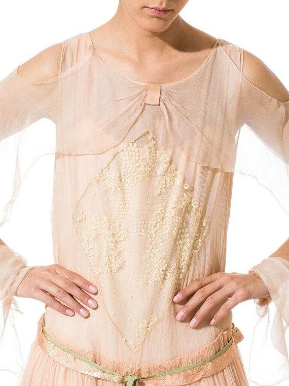1920S Blush Pink Silk Mousseline  & Ivory Chantil… - image 6