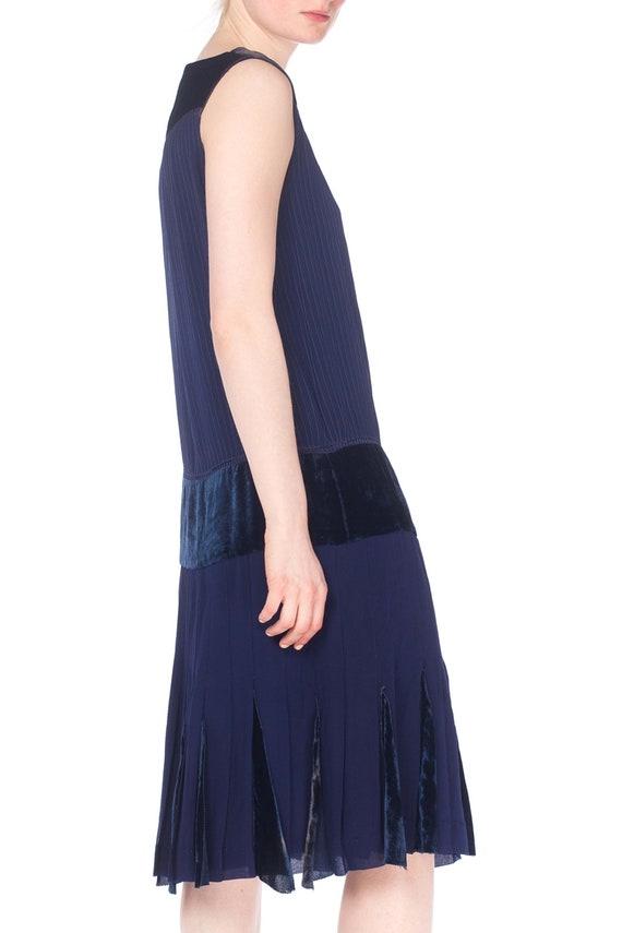 1920S Navy Blue Silk & Velvet Pintucked Drop Wais… - image 4