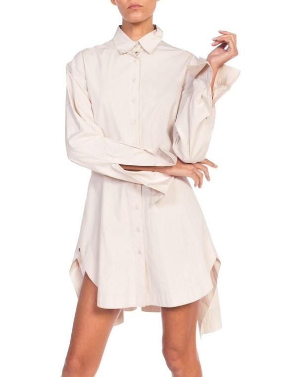 1990S Azzedine Alaia Ecru Cotton Shirt Dress
