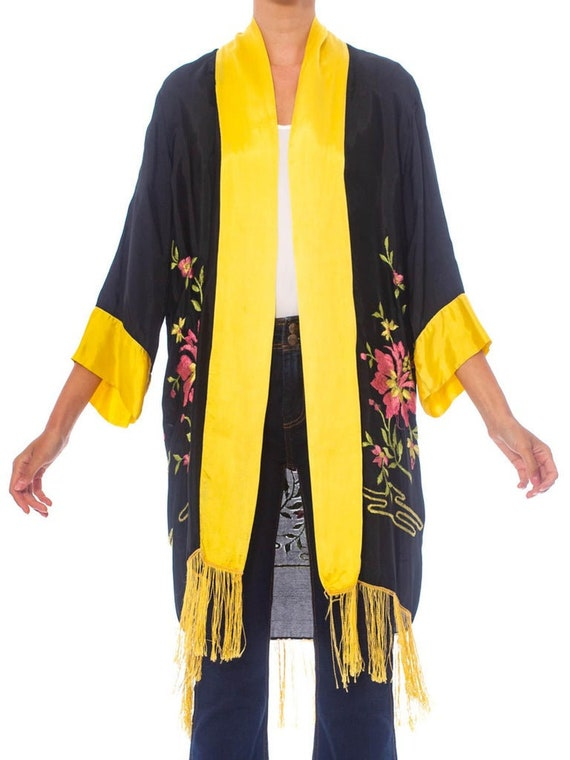 1920S  Embroidered Rayon Kaftan Kimono