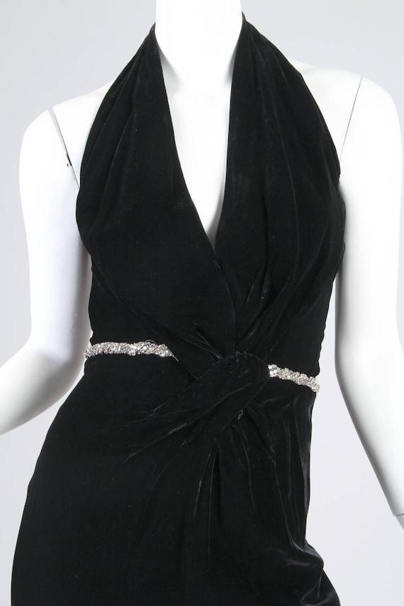 1970S CEIL CHAPMAN Black Rayon & Silk Velvet Plun… - image 6