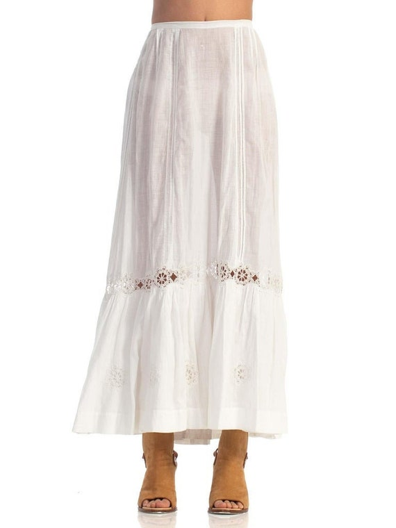 Victorian White Cotton Voile & Lace Skirt