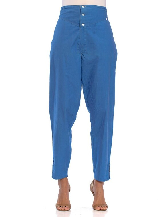 1960S French Blue Cotton Pajama Style Lounge Pants