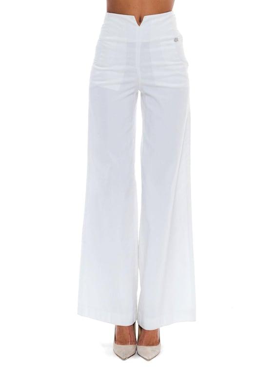 2000S Chanel White Rayon Blend Sailor Pants Xs