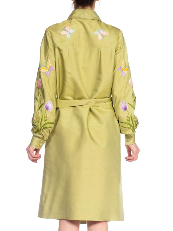 1970S Green Silk Hand Embroidered Shirt Dress - image 9