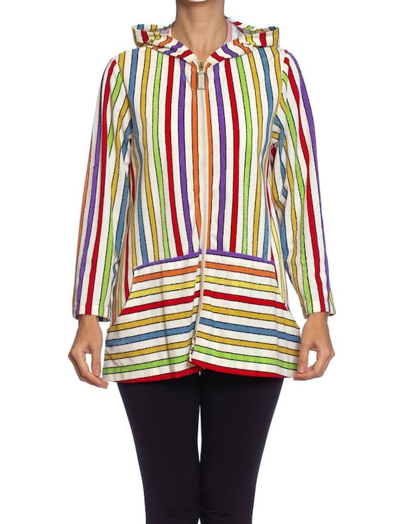 1960S Rainbow Striped Cotton Blend Terry Cloth Zip